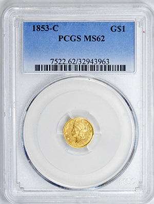 Picture of 1853-C GOLD G$1, TYPE 1 MS62