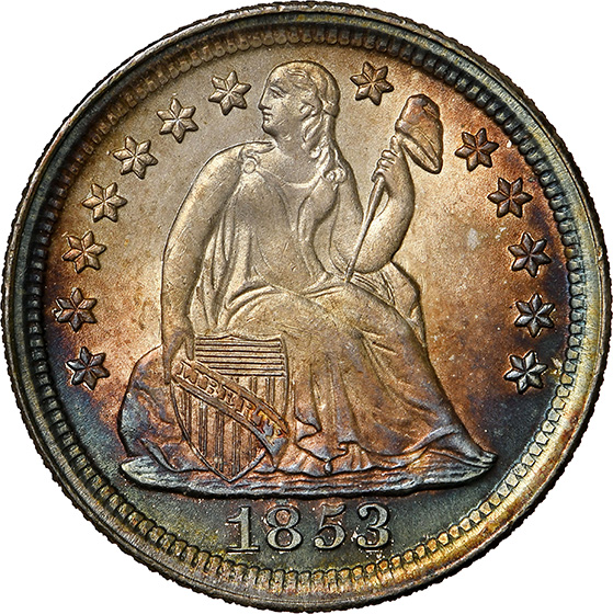 Picture of 1853 LIBERTY SEATED 10C, NO ARROWS, DRAPERY MS68