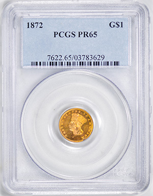 Picture of 1872 GOLD G$1, TYPE 3 PR65