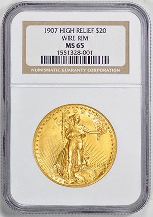 Picture of 1907 ST. GAUDENS HI-RELIEF $20, WIRE EDGE MS65