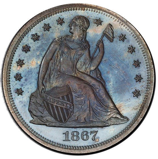 Picture of 1867 LIBERTY SEATED S$1, MOTTO PR65