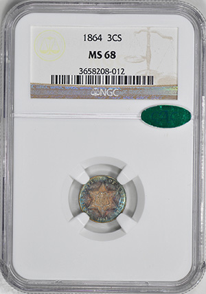 Picture of 1864 SILVER 3CS, TYPE 3 MS68