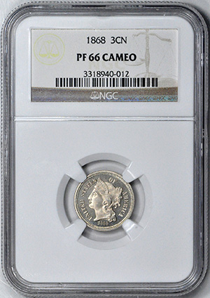 Picture of 1868 NICKEL 3CN PR66 Cameo