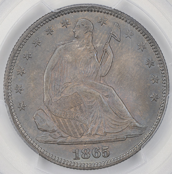 Picture of 1865 LIBERTY SEATED 50C, NO MOTTO MS66