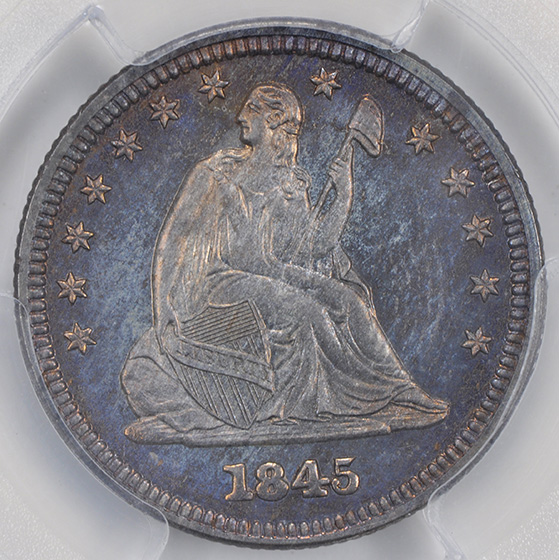 Picture of 1845 LIBERTY SEATED 25C, NO MOTTO PR66