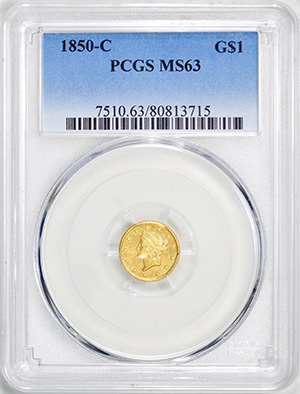 Picture of 1850-C GOLD G$1, TYPE 1 MS63