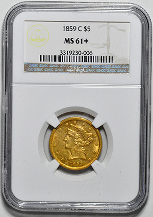 Picture of 1859-C LIBERTY $5 MS61+