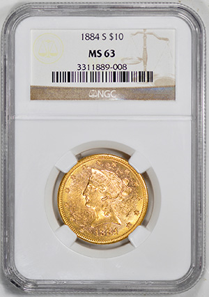 Picture of 1884-S LIBERTY $10, MOTTO MS63