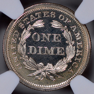 Picture of 1859 LIBERTY SEATED 10C, DRAPERY PR67 Cameo