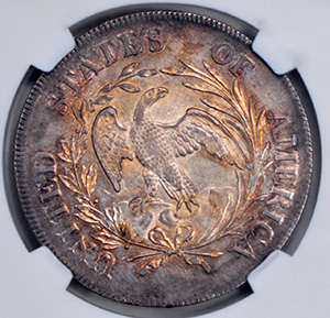 Picture of 1797 DRAPED BUST $1, B-3 BB-71 10X6 STARS, SMALL EAGLE MS63