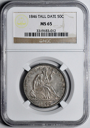 Picture of 1846 LIBERTY SEATED 50C, TALL DATE, NO MOTTO MS65