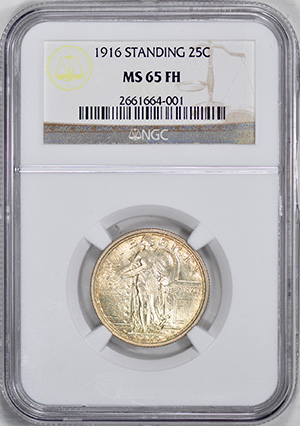 Picture of 1916 STANDING LIBERTY 25C, STANDING LIBERTY, TYPE 1 MS65 Full Head