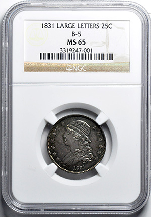 Picture of 1831 CAPPED BUST 25C, LARGE LETTERS, SMALL SIZE MS65