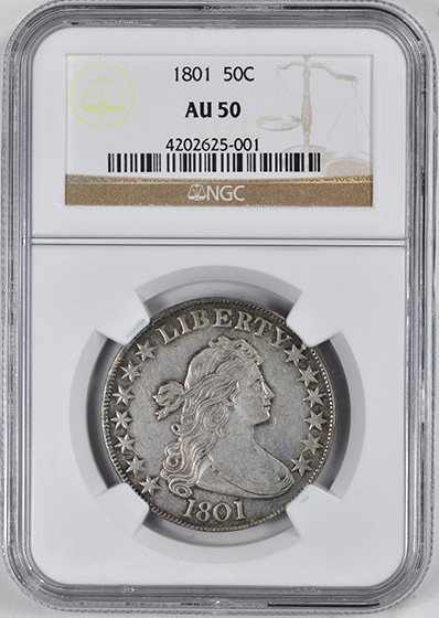 Picture of 1801 DRAPED BUST 50C, LARGE EAGLE AU50