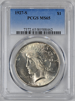 Picture of 1927-S PEACE S$1 MS65