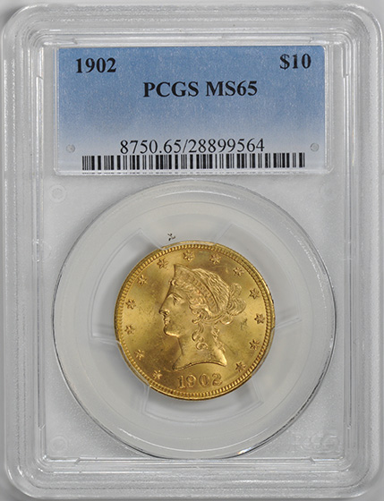 Picture of 1902 LIBERTY $10, MOTTO MS65