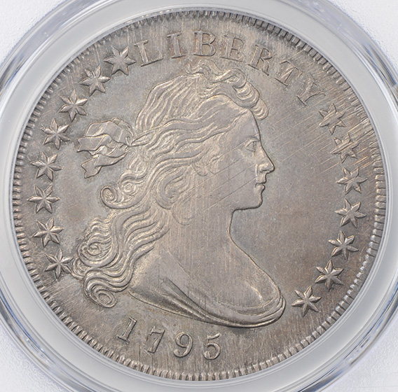 Picture of 1795 DRAPED BUST $1, OFF-CENTER BUST MS62