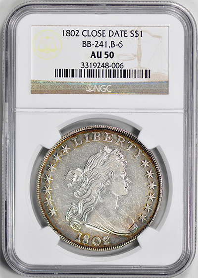 Picture of 1802 DRAPED BUST $1, B-6 BB-241 NARROW DATE, HERALDIC EAGLE AU50