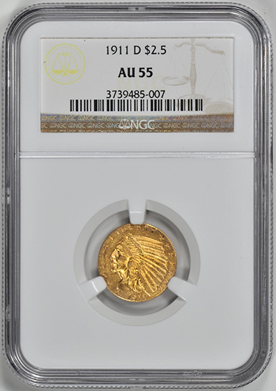 Picture of 1911-D INDIAN $2 1/2 AU55