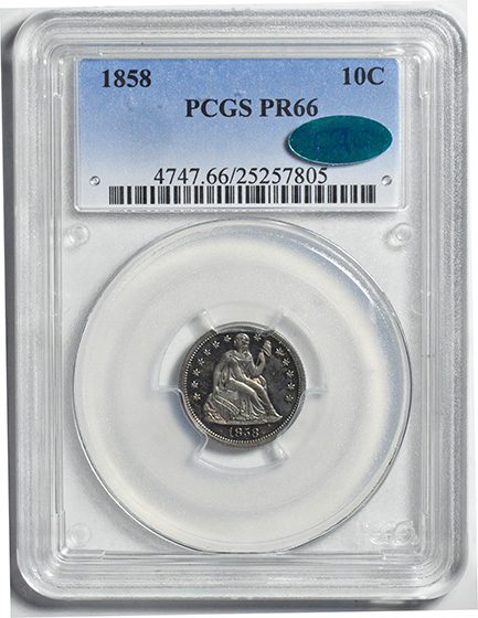 Picture of 1858 LIBERTY SEATED 10C, DRAPERY PR66