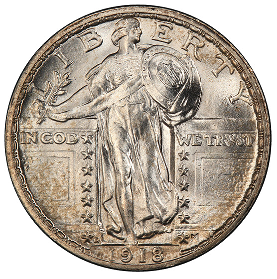 Picture of 1918-D STANDING LIBERTY 25C, TYPE 2 MS66 Full Head