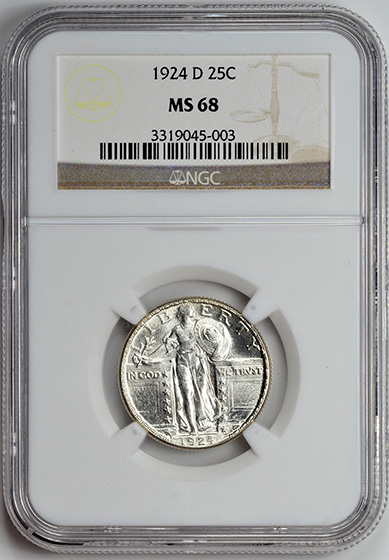Picture of 1924-D STANDING LIBERTY 25C, TYPE 2 MS68