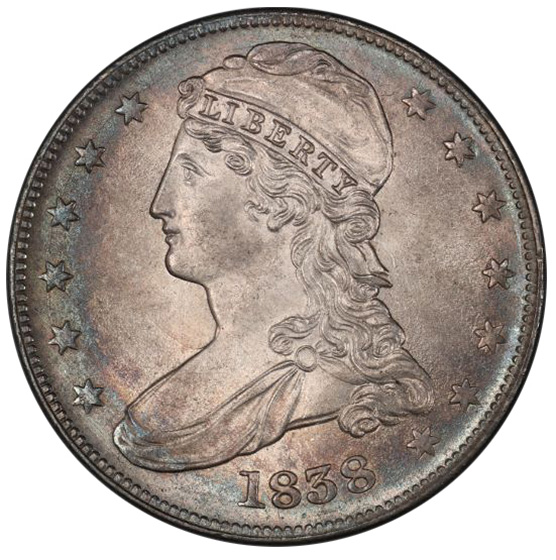 Picture of 1838 CAPPED BUST 50C, REEDED EDGE MS65