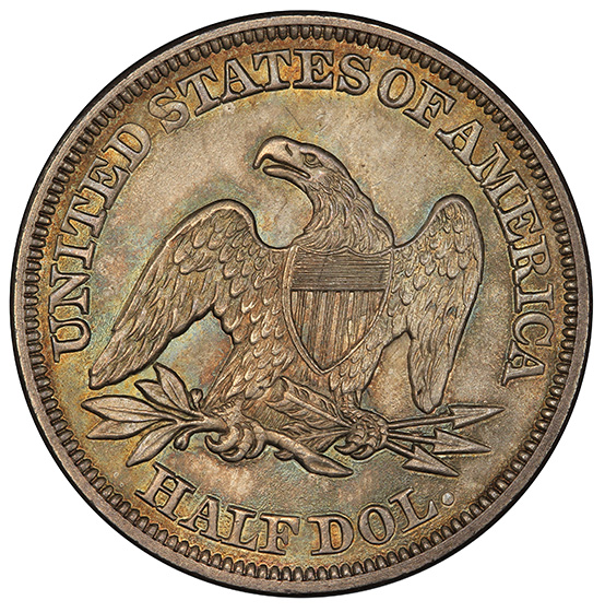 Picture of 1857 LIBERTY SEATED 50C, NO MOTTO MS66
