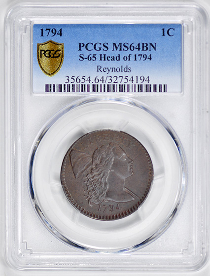 Picture of 1794 LIBERTY CAP 1C, HEAD OF 1794 MS64 Brown
