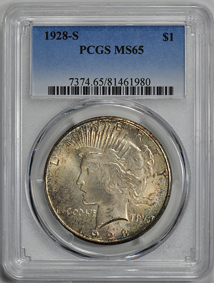 Picture of 1928-S PEACE S$1 MS65