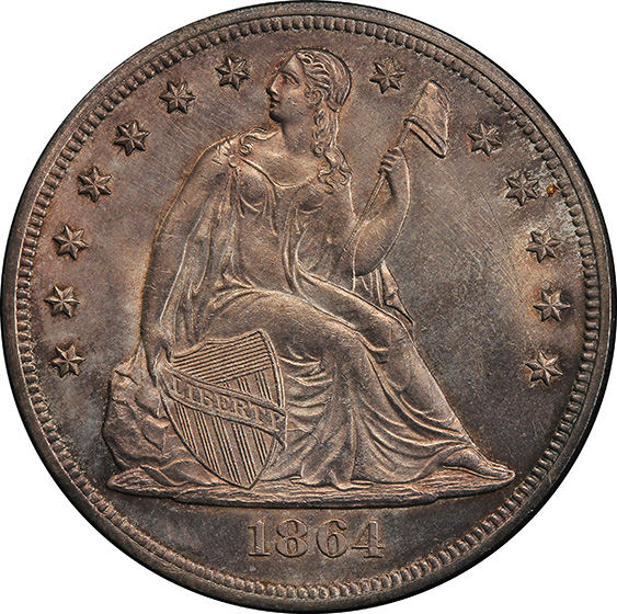 Picture of 1864 LIBERTY SEATED S$1, NO MOTTO MS65