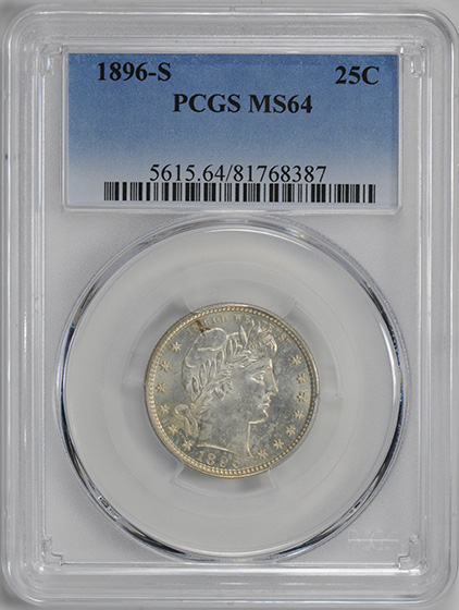 Picture of 1896-S BARBER 25C MS64