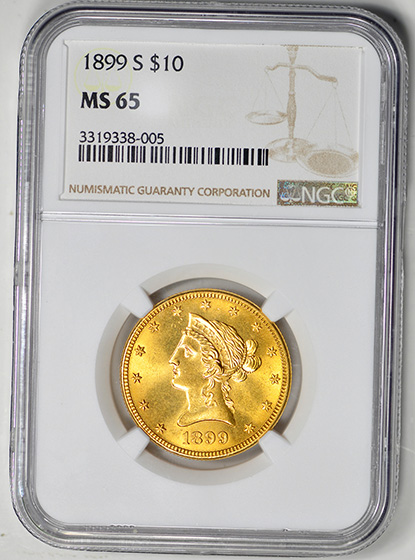 Picture of 1899-S LIBERTY $10, MOTTO MS65