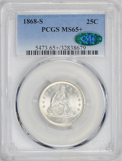 Picture of 1868-S LIBERTY SEATED 25C, MOTTO MS65+