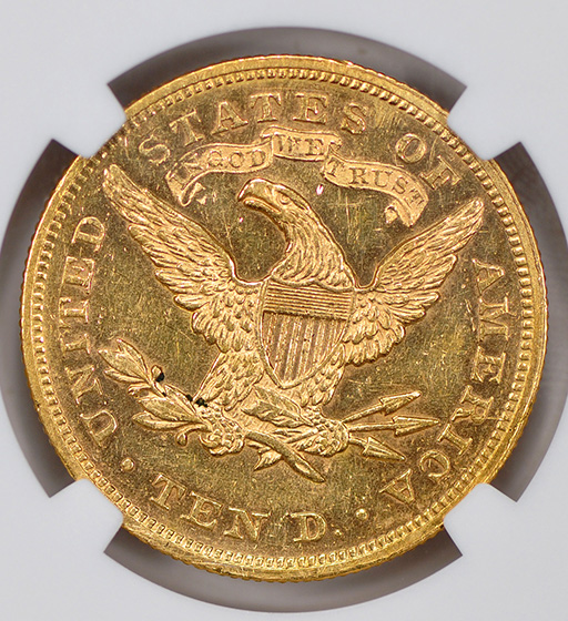 Picture of 1869 LIBERTY $10, MOTTO MS61