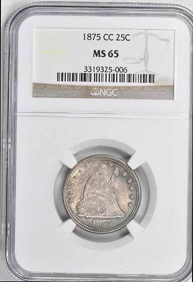 Picture of 1875-CC LIBERTY SEATED 25C, MOTTO MS65
