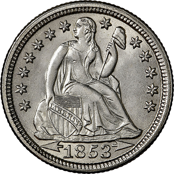 Picture of 1853 LIBERTY SEATED 10C, ARROWS MS67