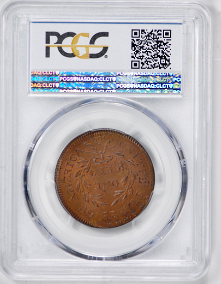 Picture of 1797 DRAPED BUST 1C, REV OF '95, GRIPPED EDGE MS64 Brown