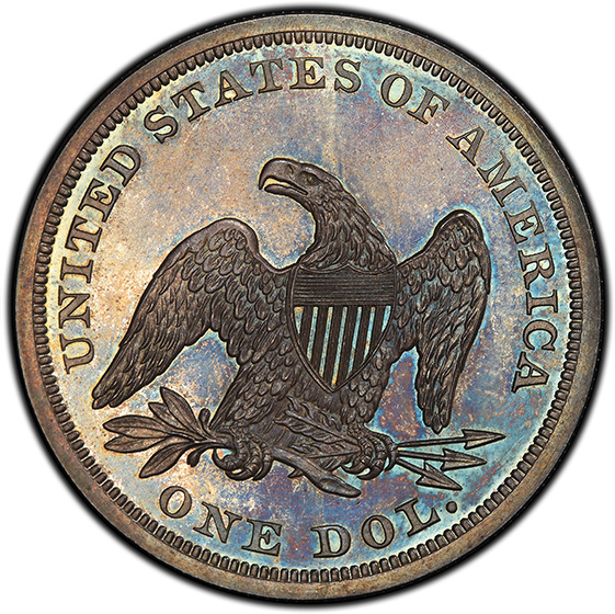 Picture of 1863 LIBERTY SEATED S$1, NO MOTTO PR65