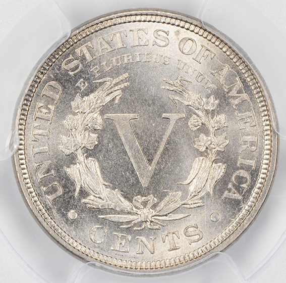 Picture of 1885 LIBERTY HEAD 5C MS66+