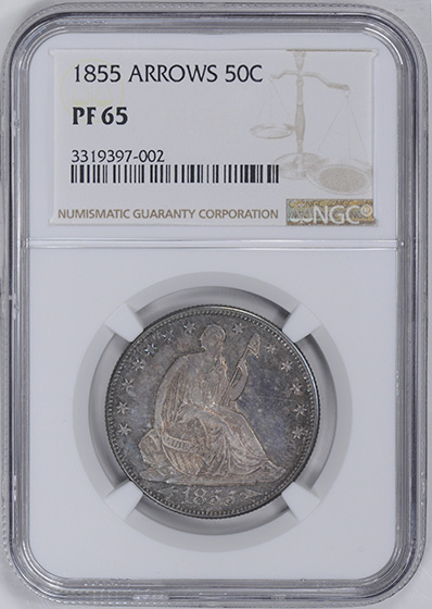 Picture of 1855 LIBERTY SEATED 50C, ARROWS, NO MOTTO PR65