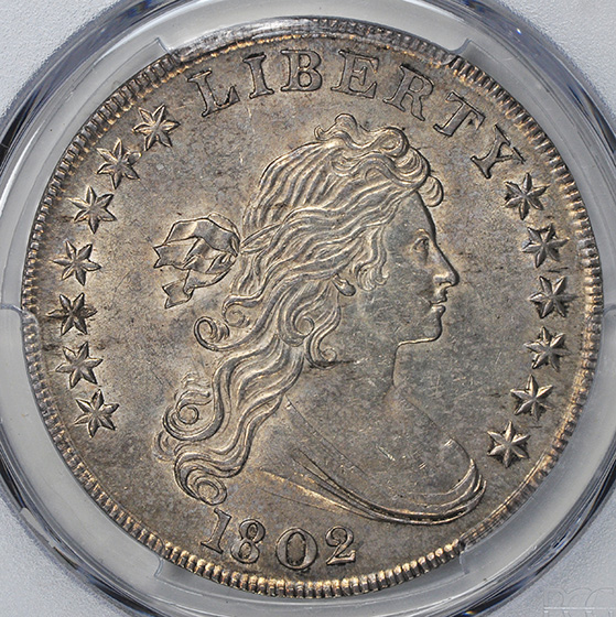 Picture of 1802 DRAPED BUST $1, B-6 BB-241 NARROW DATE, HERALDIC EAGLE MS61