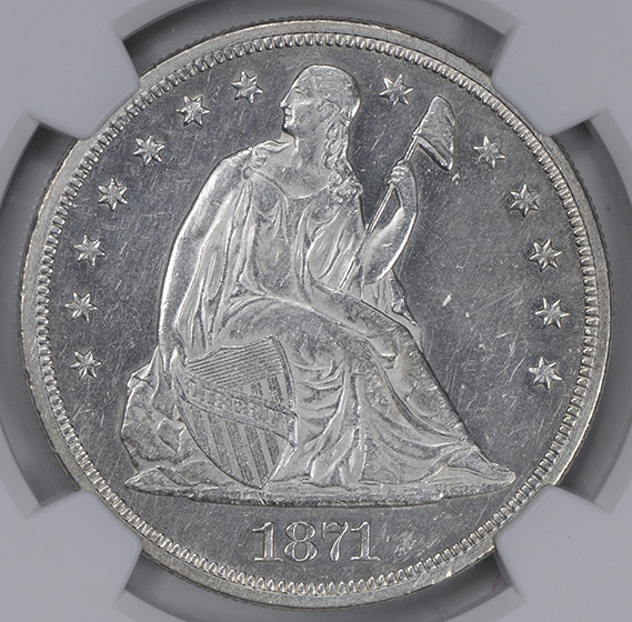 Picture of 1871-CC LIBERTY SEATED S$1, MOTTO AU58