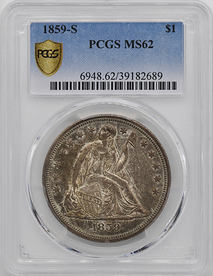 Picture of 1859-S LIBERTY SEATED S$1, NO MOTTO MS62