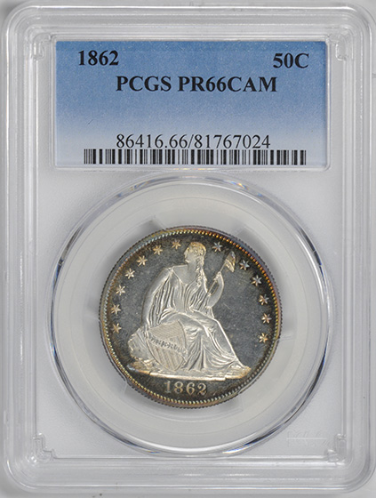 Picture of 1862 LIBERTY SEATED 50C, NO MOTTO PR66 Cameo