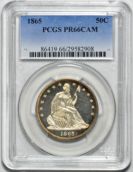 Picture of 1865 LIBERTY SEATED 50C, NO MOTTO PR66 Cameo