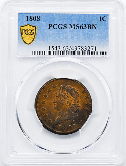 Picture of 1808 CLASSIC HEAD 1C MS63 Brown