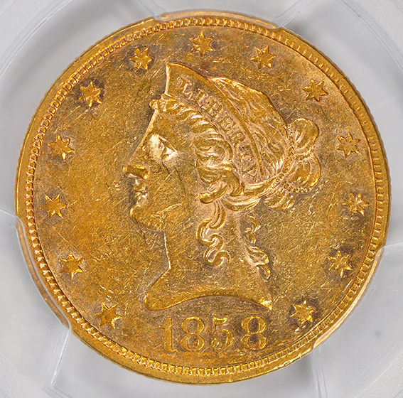 Picture of 1858 LIBERTY $10, NO MOTTO AU55