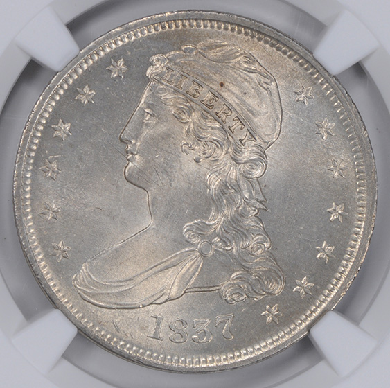 Picture of 1837 CAPPED BUST 50C, REEDED EDGE MS65