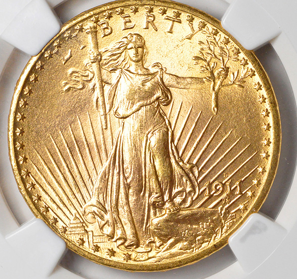 Picture of 1911-D/D ST. GAUDENS $20 MS67